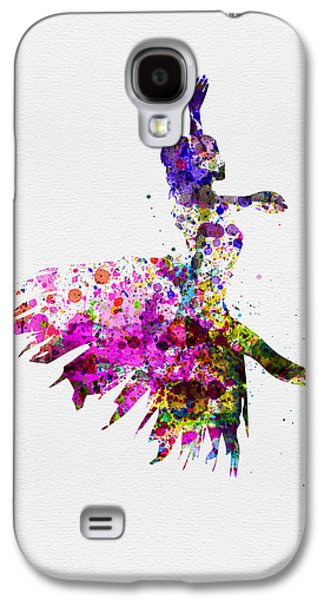 Young Mixed Media Galaxy S4 Cases - Ballerina on Stage Watercolor 4 Galaxy S4 Case by Naxart Studio