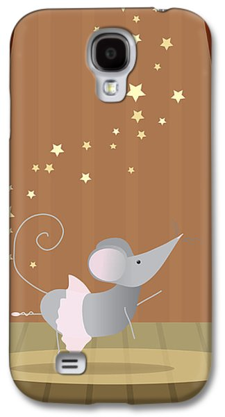 Mouse Digital Art Galaxy S4 Cases - Ballet Mouse Nursery Art Girl Galaxy S4 Case by Christy Beckwith