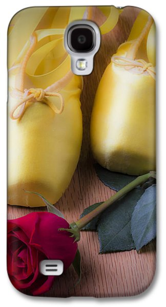 Dance Ballet Roses Galaxy S4 Cases - Ballet shoes with red rose Galaxy S4 Case by Garry Gay