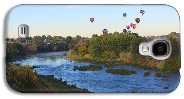 Yakima Valley Galaxy S4 Cases - Balloons Cruising over Prosser with River and Mount Adams Galaxy S4 Case by Carol Groenen