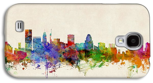 Cityscape Digital Galaxy S4 Cases - Baltimore Maryland Skyline Galaxy S4 Case by Michael Tompsett