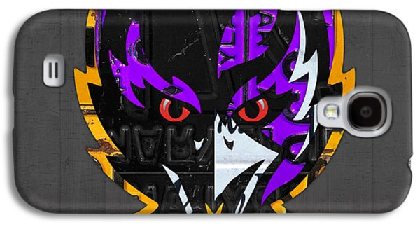 Baltimore Galaxy S4 Cases - Baltimore Ravens Football Team Retro Logo Maryland License Plate Art Galaxy S4 Case by Design Turnpike