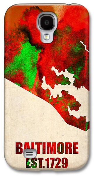 Baltimore Galaxy S4 Cases - Baltimore Watercolor Map Galaxy S4 Case by Naxart Studio