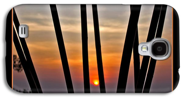 Sunset Abstract Galaxy S4 Cases - Bamboo Sunset - Black Frame Galaxy S4 Case by Kaye Menner