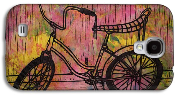 Block Print Drawings Galaxy S4 Cases - Banana Seat Galaxy S4 Case by William Cauthern