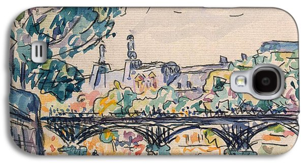 Pen And Ink Drawing Drawings Galaxy S4 Cases - Bank of the Seine near the Pont des Arts Galaxy S4 Case by Paul Signac