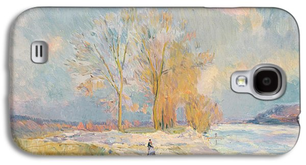 Wintertime Galaxy S4 Cases - Banks of the Seine and Vernon in Winter Galaxy S4 Case by Albert Charles Lebourg