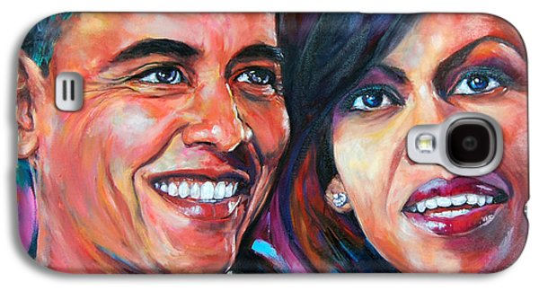 Michelle Obama Paintings Galaxy S4 Cases - Barack and Michelle Obama Galaxy S4 Case by Anju Saran