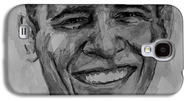 Barack Obama Galaxy S4 Cases - Barack in BW Galaxy S4 Case by Laur Iduc