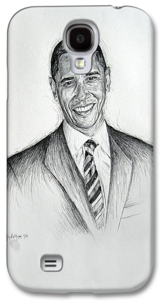 Barack Obama Drawings Galaxy S4 Cases - Barack Obama 2 Galaxy S4 Case by Michael Morgan
