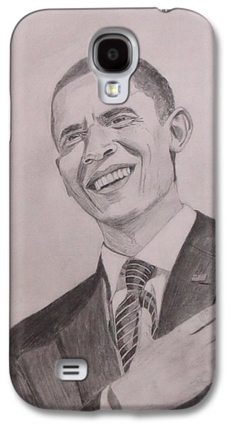 Barack Obama Drawings Galaxy S4 Cases - Barack Obama Galaxy S4 Case by Artistic Indian Nurse