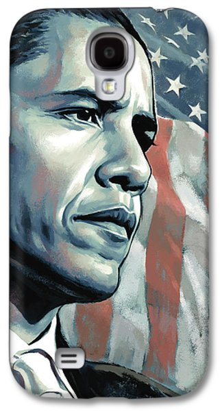 Barack Obama Mixed Media Galaxy S4 Cases - Barack Obama Artwork 2 B Galaxy S4 Case by Sheraz A