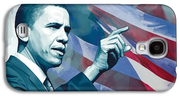 Barack Obama Mixed Media Galaxy S4 Cases - Barack Obama Artwork 2 Galaxy S4 Case by Sheraz A