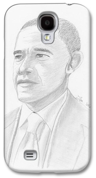 Barack Obama Drawings Galaxy S4 Cases - Barack Obama Galaxy S4 Case by Jose Valeriano