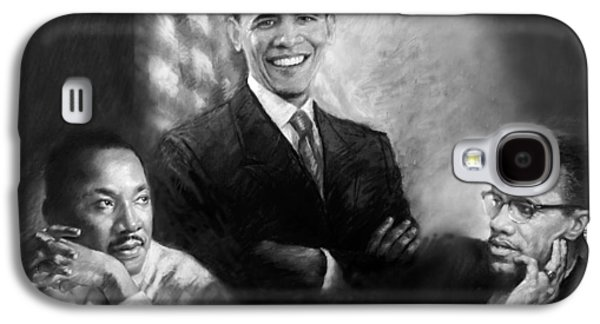 Barack Obama Galaxy S4 Cases - Barack Obama Martin Luther King Jr and Malcolm X Galaxy S4 Case by Ylli Haruni