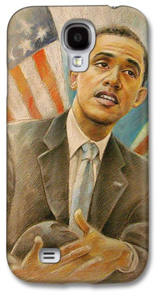 Barack Obama Mixed Media Galaxy S4 Cases - Barack Obama Taking it Easy Galaxy S4 Case by Miki De Goodaboom