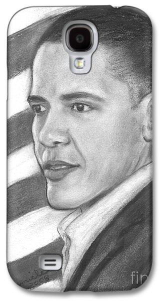 Barack Obama Drawings Galaxy S4 Cases - Barack Galaxy S4 Case by Sue Carmicle