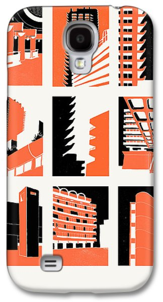 Block Print Drawings Galaxy S4 Cases - Barbican Galaxy S4 Case by Eliza Southwood