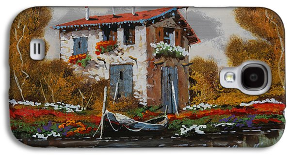 Flower Jewelry Galaxy S4 Cases - Barca Al Molo Galaxy S4 Case by Guido Borelli