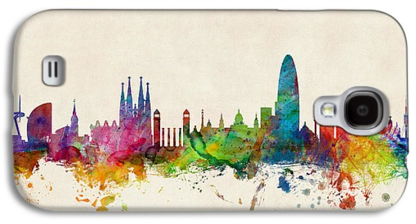 Skyline Digital Art Galaxy S4 Cases - Barcelona Spain Skyline Galaxy S4 Case by Michael Tompsett