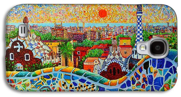 Town Paintings Galaxy S4 Cases - Barcelona View At Sunrise - Park Guell  Of Gaudi Galaxy S4 Case by Ana Maria Edulescu