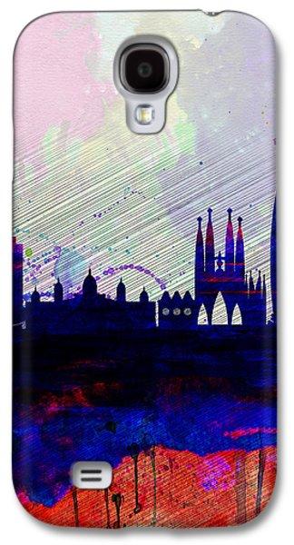 European City Digital Art Galaxy S4 Cases - Barcelona Watercolor Skyline 2 Galaxy S4 Case by Naxart Studio