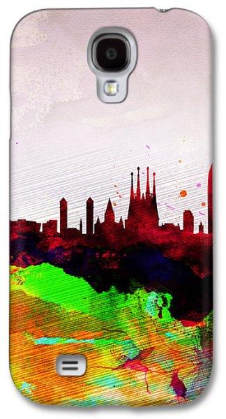 Downtown Digital Galaxy S4 Cases - Barcelona Watercolor Skyline Galaxy S4 Case by Naxart Studio