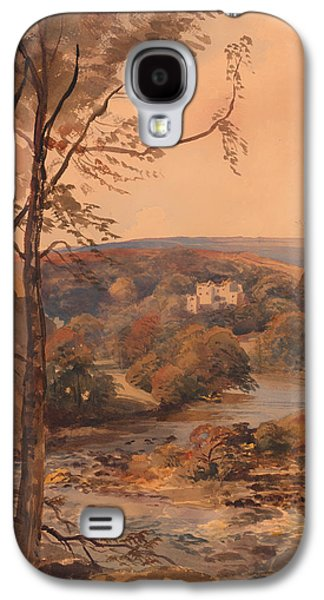 Autumn Landscape Drawings Galaxy S4 Cases - Barden Tower Yorkshire Galaxy S4 Case by Peter DeWint