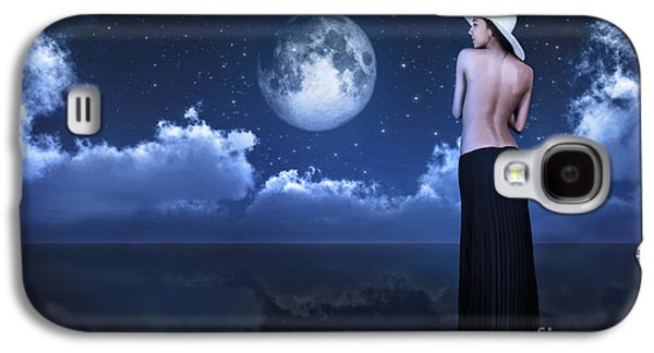 Full Skirt Galaxy S4 Cases - Bare Woman Looking At Moon Galaxy S4 Case by Aleksey Tugolukov