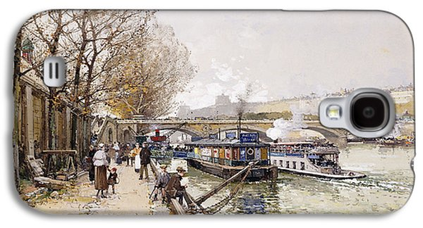 Water Vessels Paintings Galaxy S4 Cases - Barges on the Seine Galaxy S4 Case by Eugene Galien-Laloue