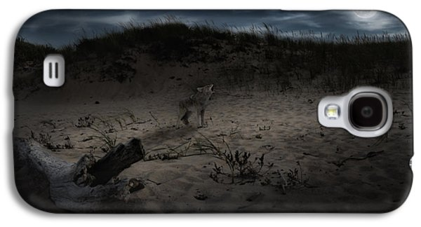 Dog In Landscape Galaxy S4 Cases - Bark At The Moon Galaxy S4 Case by Bill  Wakeley