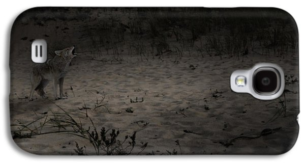 Dog In Landscape Galaxy S4 Cases - Bark At The Moon Square Galaxy S4 Case by Bill  Wakeley