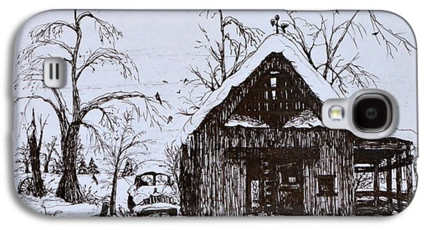 Trees In Snow Drawings Galaxy S4 Cases - Barn and car Galaxy S4 Case by Jeannie Anderson