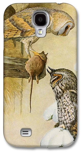 1874 Galaxy S4 Cases - Barn and Long Eared Owls Galaxy S4 Case by Louis Agassiz Fuertes
