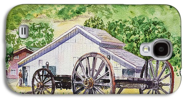 Old Barns Paintings Galaxy S4 Cases - Barn and Old Wagon at Eugene O Neill Tao House Galaxy S4 Case by Irina Sztukowski