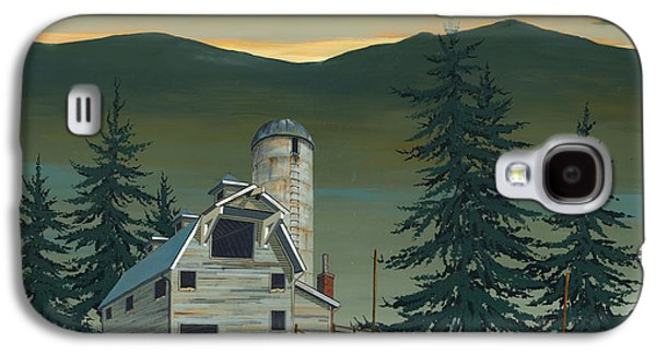 Barn Paintings Galaxy S4 Cases - Barn and Silo Galaxy S4 Case by John Wyckoff