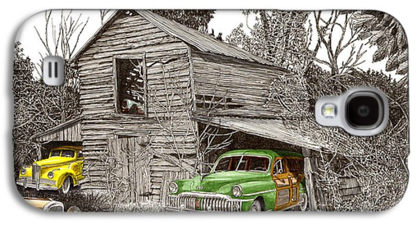 Barn Pen And Ink Galaxy S4 Cases - Barn Finds classic cars Galaxy S4 Case by Jack Pumphrey