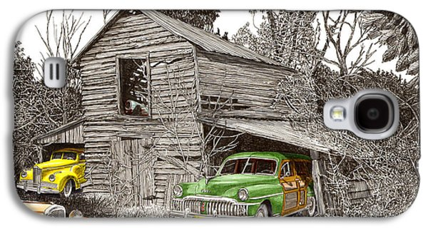 Pen And Ink Of Barn Drawings Galaxy S4 Cases - Barn Finds classic cars Galaxy S4 Case by Jack Pumphrey