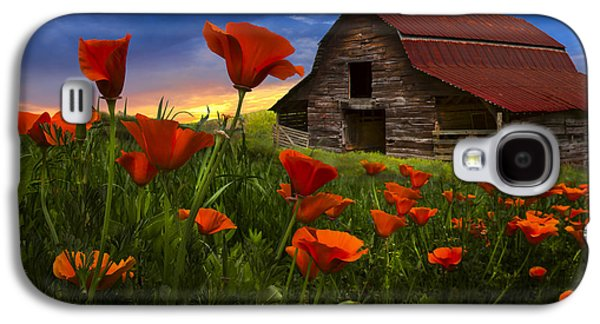 Pasture Scenes Galaxy S4 Cases - Barn in Poppies Galaxy S4 Case by Debra and Dave Vanderlaan