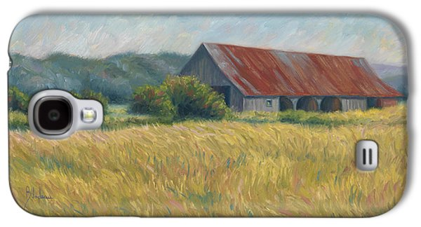 Countryside Paintings Galaxy S4 Cases - Barn In The Field Galaxy S4 Case by Lucie Bilodeau