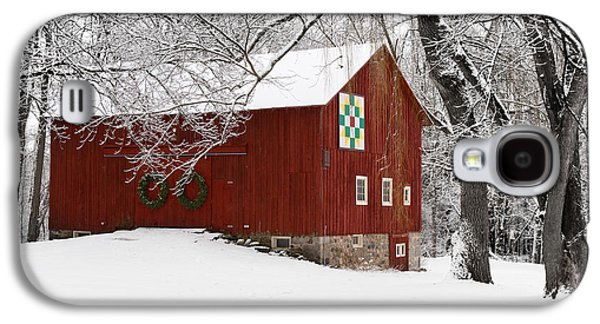 Red Barn In Winter Photographs Galaxy S4 Cases - Barn in Winter Galaxy S4 Case by Karen Salyer