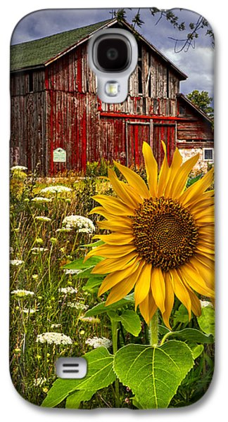 Landscapes Photographs Galaxy S4 Cases - Barn Meadow Flowers Galaxy S4 Case by Debra and Dave Vanderlaan