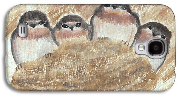 Swallow Chicks Galaxy S4 Cases - Barn Swallow Chicks Galaxy S4 Case by Conni Schaftenaar Elderberry Blossom Art