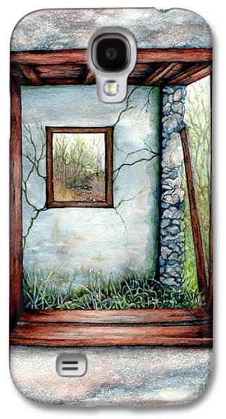 Old Barns Paintings Galaxy S4 Cases - Barn window Peering through time Galaxy S4 Case by Janine Riley