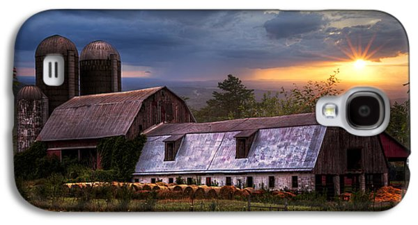 Haybale Galaxy S4 Cases - Barns at Sunset Galaxy S4 Case by Debra and Dave Vanderlaan