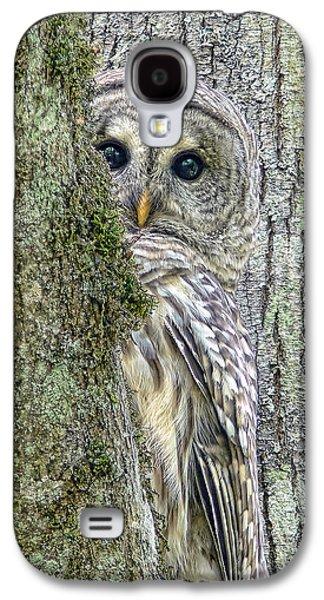Barred Owl Peek A Boo Galaxy S4 Case by Jennie Marie Schell