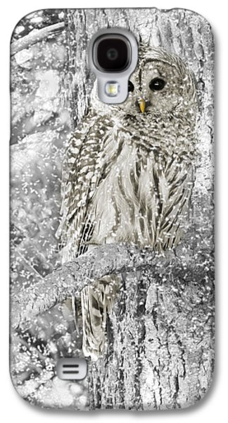 Barred Owl Snowy Day In The Forest Galaxy S4 Case by Jennie Marie Schell