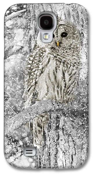 Black And White Galaxy S4 Cases - Barred Owl Snowy Day in the Forest Galaxy S4 Case by Jennie Marie Schell