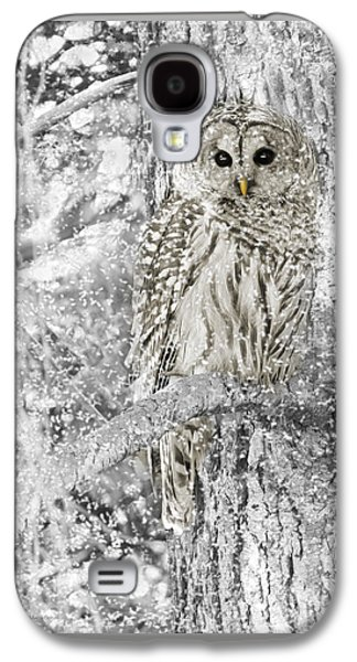 Black Photographs Galaxy S4 Cases - Barred Owl Snowy Day in the Forest Galaxy S4 Case by Jennie Marie Schell