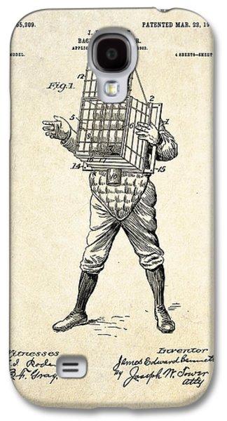 Baseball Art Galaxy S4 Cases - 1904 Base Ball Catcher Patent Art Galaxy S4 Case by Gary Bodnar